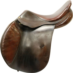 Unbranded Second Hand Delgrange Jumping Saddle Brown 17.5 inch Medium