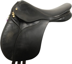Unbranded Second Hand English Leather Pony GP Saddle Black 16 inch Medium