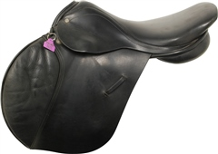 Unbranded Second Hand Barnsby Jump Saddle Black 17 inch Medium Wide
