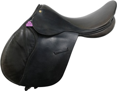 Unbranded Second Hand Holmestead Saddlery GP Saddle Black 17.5 inch Medium Wide