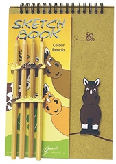 Grays Gifts Wooden Bee My Horse Sketchbook and Pencil crayons