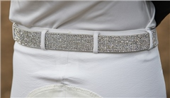 John Whitaker Thick Leather Belt With Diamonds
