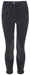 Old Mill Saddlery Old Mill Kids Cotton Jodhpurs, Patterned Knee - Zip Closure