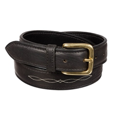 Old Mill Saddlery Padded Mens Belt with Fancy Stitching