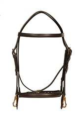 Old Mill Saddlery Quality Leather Bridle with Brass Clip Cheek Pieces