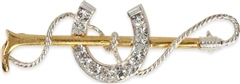 Shires Plated Gold Crop with Large Diamante Horse Shoe Stock Pin