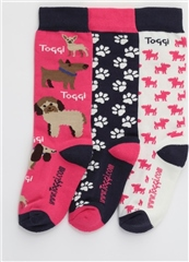 Toggi Clothing Toggi Silton Junior Children's 3 Pack Multi Dog Socks