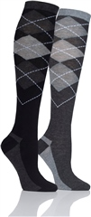 Storm Bloc Argyle Ladies Long Cushioned Socks -2 Pairs