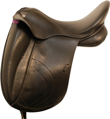 Second Hand Dapple Dressage Saddle Black 17.5 inch Medium Width