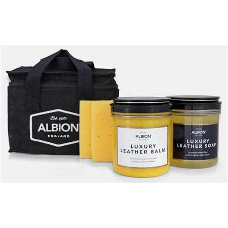 Albion Cleaning Kit Conditioner Soap and Sponge in Hessian Bag  - Click to view a larger image