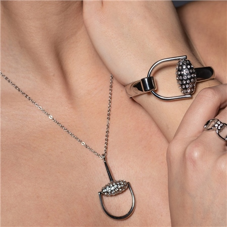 Equetech Snaffles Bit Diamante Necklace  - Click to view a larger image