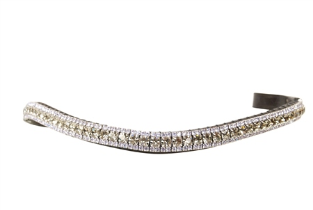 Equiture Tanzanite and Black Diamond Curve Browband  - Click to view a larger image