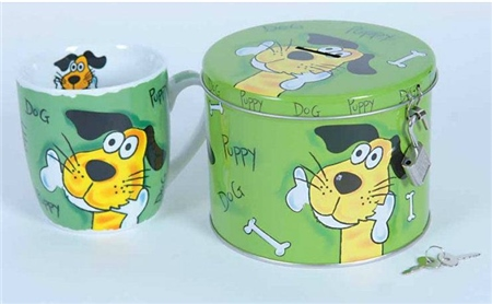 Grays Gifts Puppy Dog Cup in Lockable Tin  - Click to view a larger image