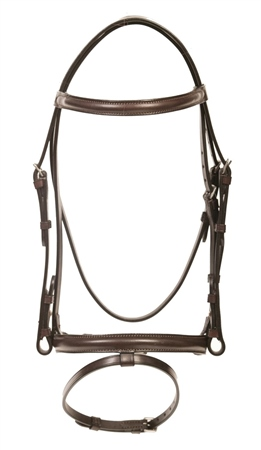 Old Mill Saddlery Quality Leather Bridle With Flash Cavesson and 5/8 Cheek  - Click to view a larger image