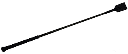 Old Mill Saddlery Riding Whip Rubber Handle With Diamante And Leather Flap  - Click to view a larger image