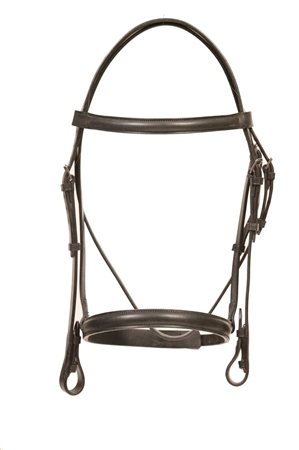 Old Mill Saddlery Quality English Bridle with Raised Cavesson 1/2 inch  - Click to view a larger image