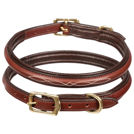 Old Mill Saddlery Leather Dog Collar Raised with Fancy Stitching  - Click to view a larger image