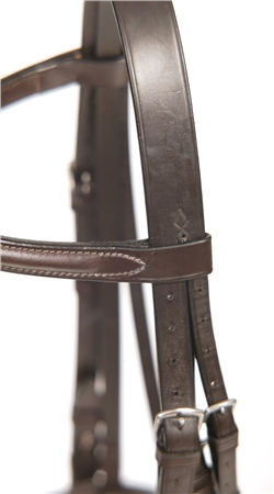 Old Mill Saddlery Old Mill Bridle with Raised Cavesson and 5/8 inch Cheeks  - Click to view a larger image