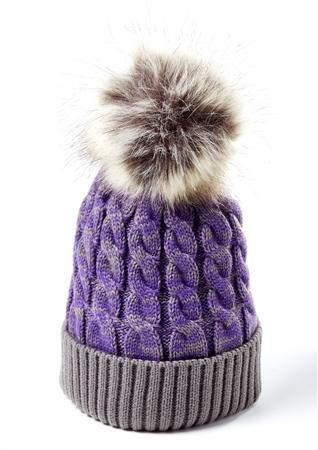 Platinum Ladies Lawton Acrylic Lurex Fur Pom Hat  - Click to view a larger image