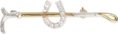 Shires Plated Gold Crop with Small Diamante Horse Shoe Stock Pin  - Click to view a larger image